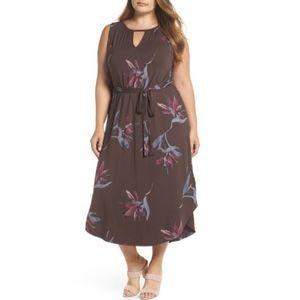 Lucky Brand Brown Floral Maxi Dress Size 1X 2X 3X